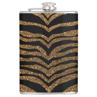 Gold glitter tiger stripes flask