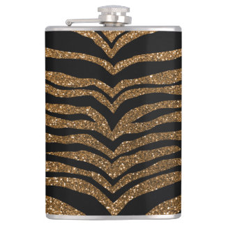 Gold glitter tiger stripes hip flask
