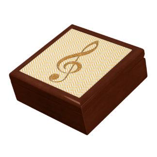 Gold Glitter Treble Clef on Yellow Chevron Gift Box