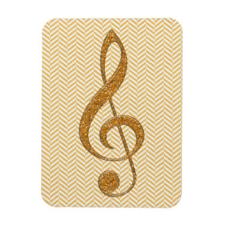Gold Glitter Treble Clef on Yellow Chevron Flexible Magnet