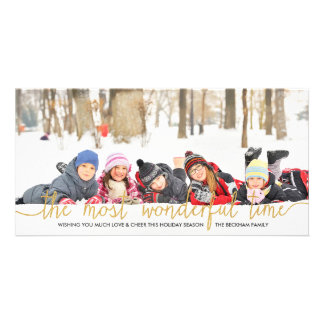 Gold Glitter Typography Holiday Photo Card