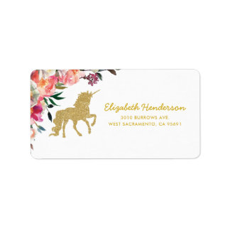Gold Glitter Unicorn | Floral Personalised Label