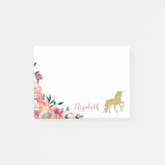 Gold Glitter Unicorn   Floral Personalized Name Post-it Notes
