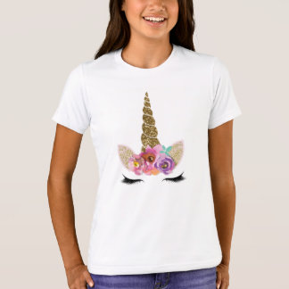Gold Glitter Unicorn Horn Floral Glam Modern Girls T-Shirt