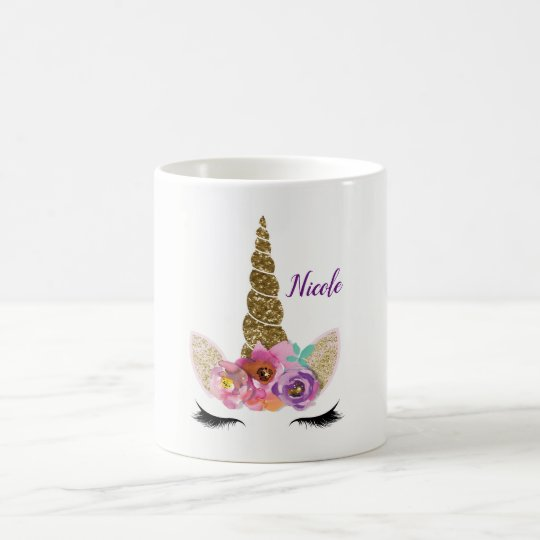 Gold Glitter Unicorn Horn Girls Glam Personalised Coffee