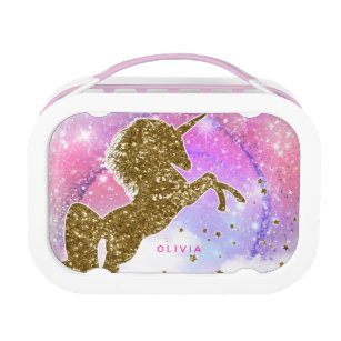 f0548fcf61 Gold Glitter Unicorn Pink Sparkle Personalized Lunch Box