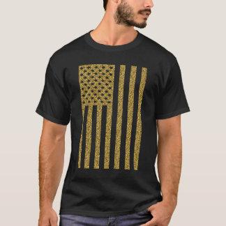 Gold Glitter USA Flag T-Shirt