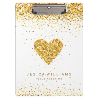 Gold Glitter Valentines Heart & Text Clipboard