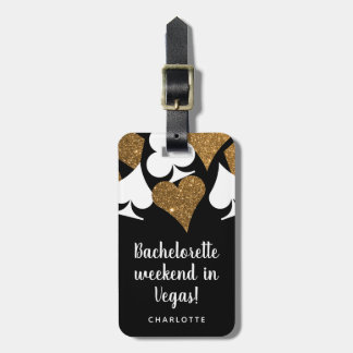 Gold Glitter Vegas Bachelorette Party Luggage Tag