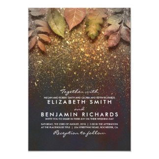 Gold Glitter Vintage Fall Leaves Wedding Card