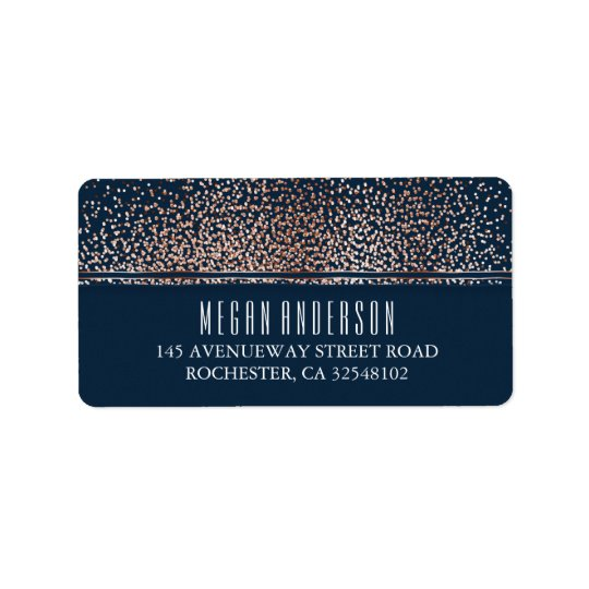 Gold Glitter Vintage Navy Wedding Address Label