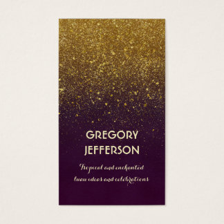 Gold Glitter Vintage Plum Wedding and Party Business Card