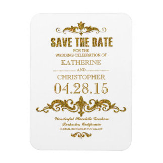 gold glitter vintage save the date magnet