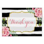 Gold Glitter Watercolor Floral Stripes Thank You Note Card