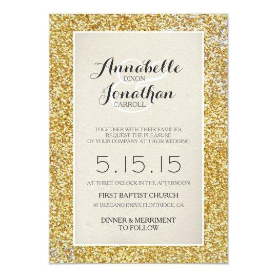 Gold Glitter Wedding Announcement Invitation