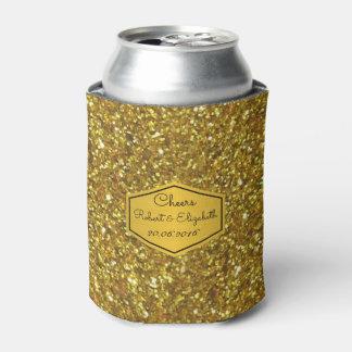Gold Glitter Wedding Can Cooler