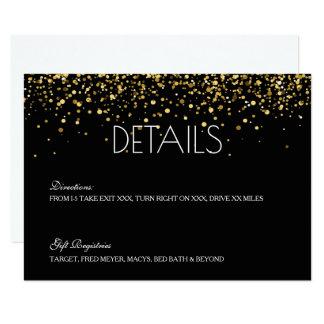 Gold Glitter Wedding Details Card