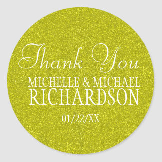 Gold Glitter Wedding Favor Round Sticker