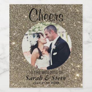 Gold Glitter Wedding Photo Wine Labels