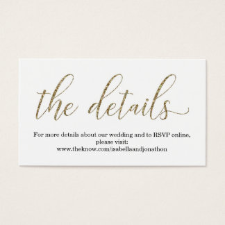 Gold Glitter Wedding Website Info Enclosure Card