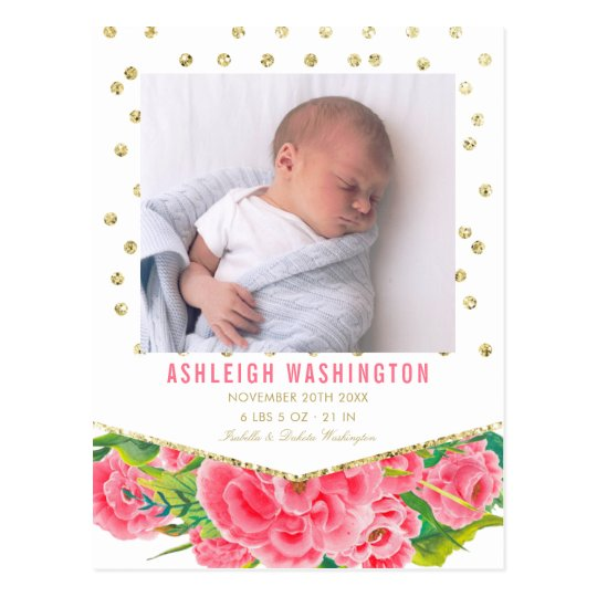 Gold Glitter & White | Floral Birth Announcement