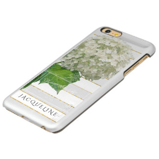 Gold Glitter White Hydrangea Vintage Wide Striped iPhone 6 Plus Case