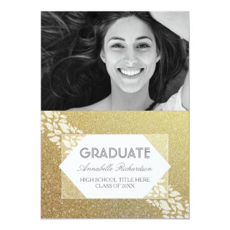 Gold Glitter White Leaves Laurel Photo Graduation Card