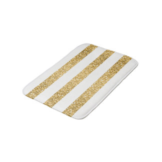 Gold Glitter White Stripes Pattern Bath Mat