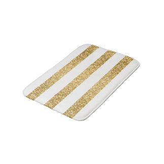 Gold Glitter White Stripes Pattern Bath Mats