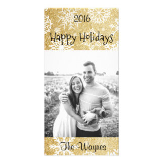 Gold Glitter Winter Snowflake Christmas card Personalised Photo Card