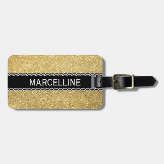 Gold glitter with black and white shapes luggage tag