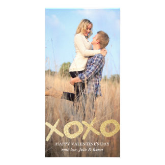 Gold Glitter XOXO Valentine's Day Photo Cards