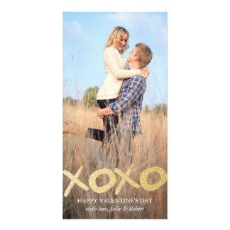 Gold Glitter XOXO Valentine's Day Photo Cards