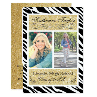 Gold Glitter Zebra 3x5 Graduation Announcement