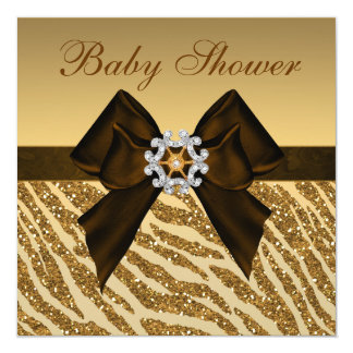 Gold Glitter Zebra Print & Bling Baby Shower Card