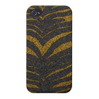 Gold Glitter Zebra Stripes iPhone 4 Cover