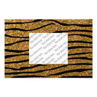 Gold glitter zebra stripes photographic print