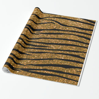 Gold glitter zebra stripes wrapping paper