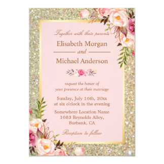 Gold Glitters Blush Pink Floral Wedding Invitation