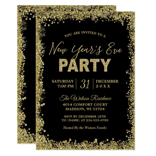 gold glitters border typography new years party invitation