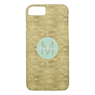 Gold Glittery Chic Stripes Monogram iPhone 8/7 Case
