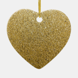 Gold Glittery Paper Ceramic Heart Decoration