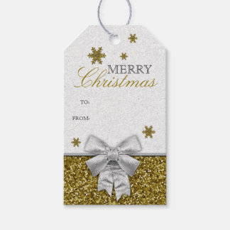 Gold Glittery Snowflakes Gift Tags