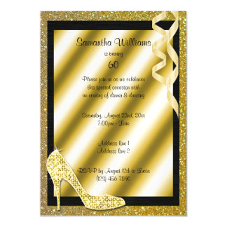 Gold Glittery Stiletto & Streamers 60th Birthday Magnetic Invitations