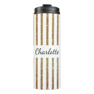 Gold Glittery Striped Custom Thermal Tumbler