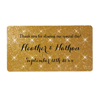Gold glittery wedding wine or water bottle labels