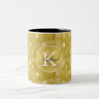 Gold Glitz Bokeh Monogram Two-Tone Coffee Mug