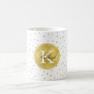 Gold Glitz Confetti Dots Monogram Coffee Mug