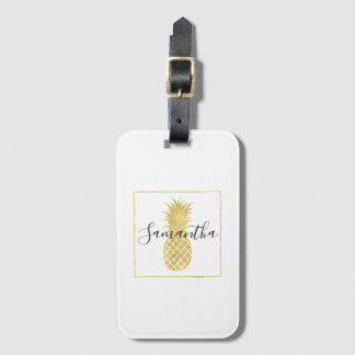 Gold Glitzy Pineapple Luggage Tag