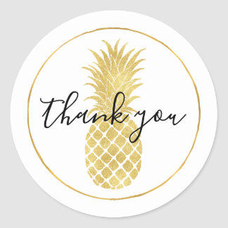 Gold Glitzy Pineapple Thank you Classic Round Sticker